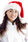 Smiling Chef Wearing Christmas Hat Stock Image
