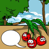 Smiling Cherry with speech bubble Stock Photo