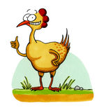 Smiling chicken funny cartoon. Cartoon drawing of a smiling chicken. This artwork was created manually with ink and markers on illustration board royalty free illustration