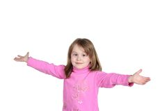 Smiling child. Merry, smiling child on white background, hands Stock Photo