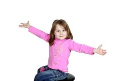 Smiling child. Merry, smiling child on white background, hands Royalty Free Stock Photo