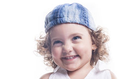 Smiling child with blue hat Stock Images