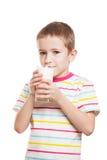 Smiling child boy drinking milk royalty free stock image