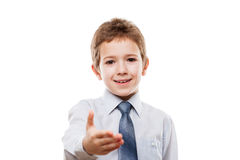 Smiling child boy gesturing hand greeting or meeting handshake. Little smiling child boy gesturing hand greeting or meeting handshake white isolated Stock Images