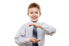 Smiling child boy hand holding invisible sphere or globe Stock Photos
