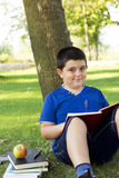 Smiling child boy reading book outdoor on green grass field Royalty Free Stock Image