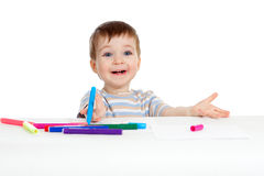 Smiling child with color felt pen over white Stock Photo