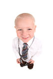 Smiling Child Doctor Looking up at the Viewer. Smiling Doctor Looking up at the Viewer on a White Background. Easily Extracted Royalty Free Stock Photo