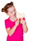 Smiling child eaiting ice-cream Stock Image