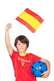 Smiling child fan of the Spanish team Stock Images