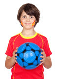 Smiling child fan of the Spanish team Royalty Free Stock Photos