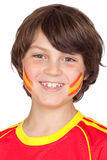 Smiling child fan of the Spanish team Stock Photography