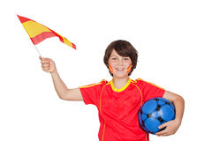 Smiling child fan of the Spanish team Stock Photos