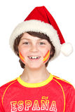 Smiling child fan of the Spanish team in Christmas Royalty Free Stock Images
