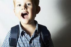 Smiling child. funny little boy.laughter.emotion.scream Royalty Free Stock Photography