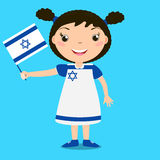 Smiling child, girl, holding a Israel flag isolated on blue back Royalty Free Stock Photos