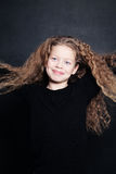 Smiling Child Girl with Long Hair Stock Photos