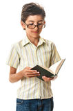 Smiling child in glasses reading a book Royalty Free Stock Photos