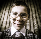 Smiling child with glasses in vintage clothes Stock Images