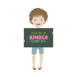 Smiling child holding first day of kindergarten poster. Vector background Stock Photos