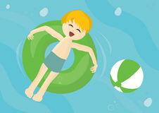 Smiling child on a inflatable pool tube Stock Image