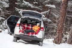 Free Smiling Child Laying Inside Of Car Back Boot For Luggage. Winter Evergreen Forests With Huge Snow Covered Pines Stock Photography - 108663832