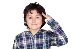 Smiling child with plaid t-shirt Stock Photo