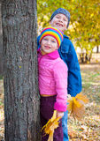 Smiling child portrait on autumn park Stock Photos