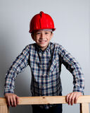 Smiling child with red helmet royalty free stock image