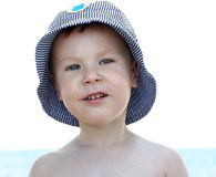 Smiling child at sea royalty free stock photography
