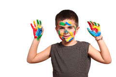 Smiling child showing his colored hands Stock Images