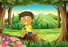 A smiling child sitting above the stump Vector Illustration