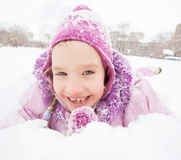 Smiling child in winter Stock Photo