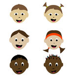 Smiling children. Ethnically diverse smiling children faces Stock Photo