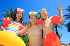 Smiling children in bathing suits Royalty Free Stock Photo