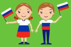 Smiling children, boy and girl, holding a russian flag isolated. On green background. Vector cartoon mascot. Holiday illustration to the Day of the country Royalty Free Stock Images