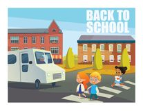 Smiling children crossing street in front of bus. Happy kids walking across pedestrian crosswalk against buildings on. Background. Back to school concept royalty free illustration