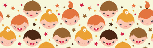 Smiling children horizontal seamless pattern Royalty Free Stock Images