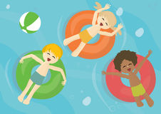 Smiling children on a inflatable pool tubes royalty free illustration