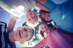 Smiling children looking down the camera Stock Photo