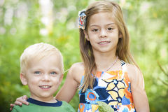 Smiling Children Outdoor Portrait royalty free stock images