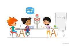 Smiling children sitting at laptops around smart robot standing on table in school classroom. Robotics and programming stock illustration