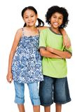 Smiling children standing together. Isolated over white Royalty Free Stock Photos