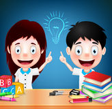 Smiling Children Student Characters with Idea on Blue Background Stock Photos