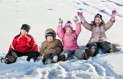 Smiling children in winter Royalty Free Stock Images