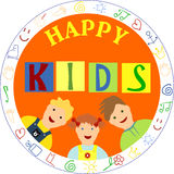 Smiling children and the words Happy kids. Smiling children, arranged in a circle and the words Happy kids Royalty Free Stock Photos