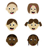 Smiling childrens. Ethnically diverse smiling children faces Royalty Free Stock Images