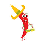 Smiling chili pepper in Mexican sombrero playing bongo drums Royalty Free Stock Photo