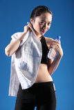 Smiling Chinese Asian girl after exercise workout Stock Photos