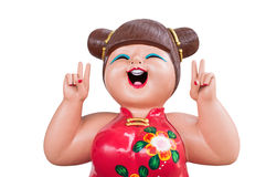 The smiling chinese girl doll in chinese dress Royalty Free Stock Photography
